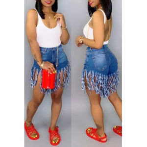 Cut-out fringed jean shorts